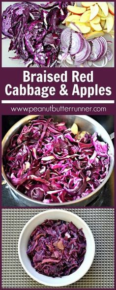Braised Red Cabbage with Red Onion Apples and Balsamic - - A recipe for braised red cabbage recipe. A delicious, slow-cooked mix of red cabbage, red onions, balsamic vinegar and apples. Recipe For Braised Red Cabbage, Apples And Cabbage Recipe, German Red Cabbage Recipes, Purple Cabbage Recipes, Red Cabbage With Apples, Red Cabbage Salad, Cabbage And Sausage, Braised Cabbage, Vegetarian Recipes