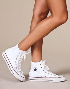 All Star Canvas Hi, Converse High Top Converse Outfits, White High Top Converse, Converse Sneakers, Pink Sneakers, Converse Chuck, Sock Shoes, Cute Shoes, Me Too Shoes, All Star Shoes