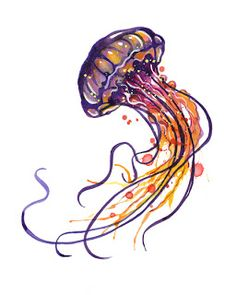 Dreaming of Art and Other Things: Jellyfish watercolor painting