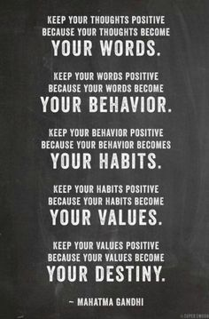 WORDS, BEHAVIOR, HABITS, VALUES, DESTINY...