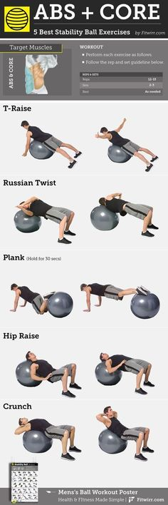 5 Best Abs and Core Exercises With a Stability Ball for Men Whether it's six-pack abs, gain muscle or weight loss, these workout plan is great for beginners men and women. with FREE WEEKENDS and No-Gym or equipment neede Training Fitness, Fitness Workouts, Yoga Fitness, At Home Workouts, Fitness Plan, Fat Workout, Ball Workouts, Fitness Hacks, Health Fitness