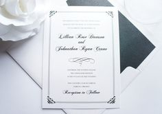 Colors can be customized to reflect your wedding for each design! Shown in Black. Ribbon and Ink colors available in every color on the color chart!Purchase a