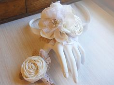 Shabby Chic Wrist Corsage & Boutonniere, ivory cotton fabric flowers, burlap, jute, lace, rhinestones and pearls.
