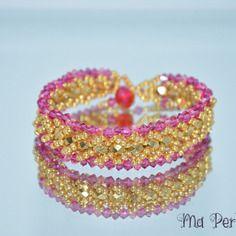 "Bracelet en cristal swarovski doré ""personnalisable"""
