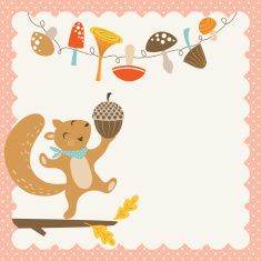 Cute autumn squirrel vector art illustration