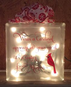 When a cardinal appears in your yard it's by JaniceGiftsandDesign Christmas Glass Blocks, Christmas Projects, Holiday Crafts, Christmas Crafts, Christmas Decorations, Painted Glass Blocks, Decorative Glass Blocks, Lighted Glass Blocks, Hand Painted