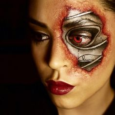 Here's a lady terminator, inspired by the Terminator movie series. So, how is the make up?
