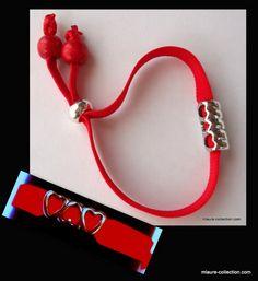 Bracelet élastique réglable 3 coeurs, une création mlaure-collection.com