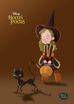 Fan art characters from the amazing Disney movie 'Hocus Pocus' Best Halloween Movies, Disney Halloween, Halloween Cat, Halloween Stuff, Vintage Halloween, Halloween Costumes, Hocus Pocus 1993, Hocus Pocus Movie, Disney Love
