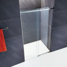 VIGO Luca H x to W Frameless Bypass/Sliding Stainless Steel Shower Door at Lowe's. There's luxury and then there's the VIGO Luca, taking luxury to the next level. This Frameless glass sliding shower door is classic, cool, and timeless. Vigo Shower Doors, Framed Shower Door, Frameless Sliding Shower Doors, Thing 1, Glass Shower, Walk In Shower, Home Staging, Small Bathroom, Bathroom Ideas