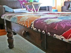 How To: Cushioned Coffee Table...note to self: put studs into the underneath plywood board not into the table.