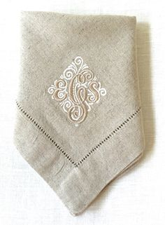 Monogram Embroidered Napkins Elegant Simplicity.  Personalized dinner napkins.  Cloth napkins. by WhimseaCottage on Etsy https://www.etsy.com/listing/248502420/monogram-embroidered-napkins-elegant