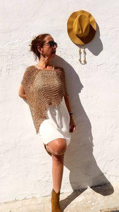 Boho chic poncho  summer knit poncho beach boho cover por EstherTg