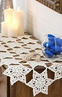 Lovely lacy snowflakes add charm to tabletop or mantle. Worked in size 3 thread, and joined as you crochet, this runner will add elegance to your holiday.