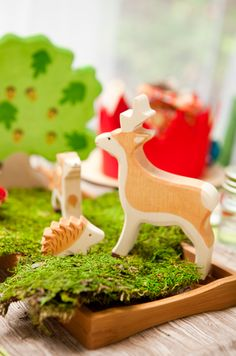Heirloom quality wooden animals from Acme Party Box Co.