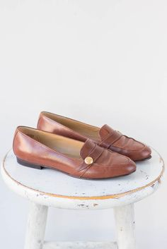 1990s Etienne Aigner Brown Leather Loafers - MILLAY SHOP.