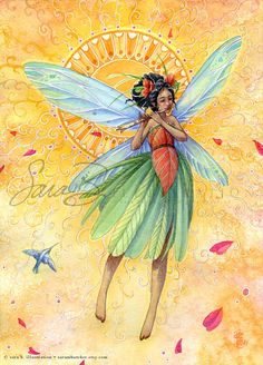 Fairy Art  Summer Garden Fairy Print  Song of by sarambutcher