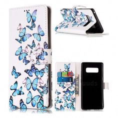 Blue Vivid Butterflies PU Leather Wallet Case for Samsung Galaxy Note 8 - Leather Case - Guuds Cell Phone Wallet, Phone Cases Samsung Galaxy, Samsung Galaxy Note 8, Cell Phone Cases, Galaxy Phone, Leather Case, Pu Leather, Leather Wallet, Cell Phones In School