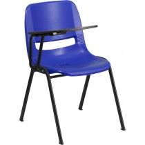 Blue Ergonomic Shell Chair With Right Handed Flip Up Tablet Arm