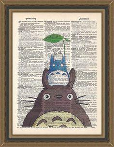 Totoro et amis illustration imprimée sur une page de dictionnaire vintage.  Mon voisin Totoro, affiche de Anime Print, impression de la chambre d'enfant, salle de jeux pour enfants.