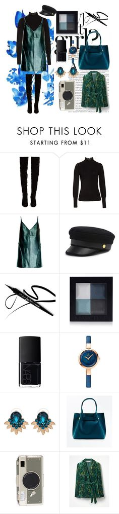 """""""black & blue"""" by sha-shu ❤ liked on Polyvore featuring Christian Louboutin, Rebecca Taylor, Leka, Henri Bendel, NARS Cosmetics, WithChic, New Look and Kate Spade"""