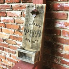 personalized bar sign, beer bottle opener, custom wood bottle opener, wall mounted, cap catcher, pub sign with your name and date by OniontownRepurposed on Etsy
