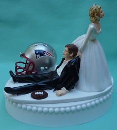 Wedding Cake Topper New England Patriots Pats Football Themed w/ Garter, Display Box