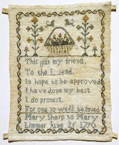 Friendship Sampler, Meary Sharp to Mary Limmer 1790 - Fitzwilliam museum