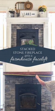 Stacked Stone Fireplace Gets a Farmhouse Facelift