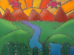 warm/cool chalk pastel glue line landscape (could also rolled over with paint to create a batik line)