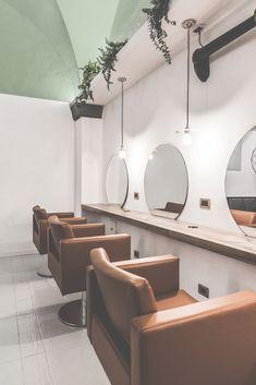 With an eye-catching brass shade, our Kigoma modern pendant lights complement the décor of Little Venice Hair. Home Hair Salons, Hair Salon Interior, Salon Interior Design, Home Salon, Interior Design Magazine, Beauty Salon Decor, Beauty Salon Design, Salon Lighting, Barbershop Design