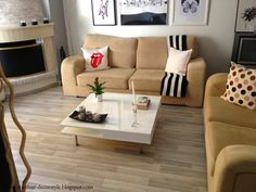Neutral looking, laminate flooring Upholstered Furniture, Accent Furniture, Home Living Room, Living Spaces, Maple Floors, Laminate Flooring, Flooring Ideas, Reno, Basement Remodeling