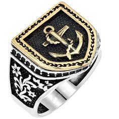 Denizci Gümüş Yüzük - Sarı altın kaplama kullanılan 925 ayar denizci çapası gümüş yüzük parma ölçünüze özel hazırlanıp gönderilir. Stil sahibi erkekler için en yeni ve trend yüzükler yuzuksitesi.com`da . / http://www.yuzuksitesi.com/denizci-gumus-yuzuk-10133