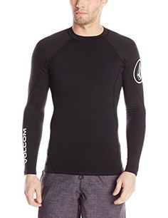 Volcom Mens Hotainer Long Sleeve Rash Guard Black Large ** Details on product can be viewed by clicking the image