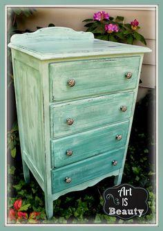 ART IS BEAUTY: Salvage Dresser Turned CUSTOM Blue/Green BEAUTY Queen http://arttisbeauty.blogspot.com/2013/05/salvage-dresser-turned-custom-bluegreen.html