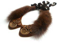 Купить Воротничок 025, куница - коричневый, стильный подарок, стильное украшение, куница, стильный аксессуар