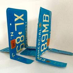 Industrial New Jersey license plate bookends - handmade - plates from the 1990s