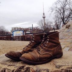 """""""Greetings from Berlin! We have to share this beauty with you. This 8113 Iron Ranger was worn for three years. The Hawthorne Muleskinner leather always…"""""""