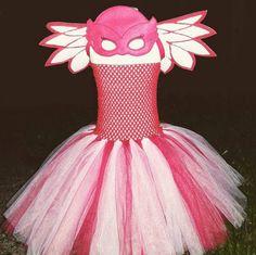 Owlette Mask Bracelet Wings and Tutu Set - PJ Masks Birthday Outfit, Owlette Birthday Outfit, Owelette Tutu Set 4-7 yrs by AHeartlyCraft on Etsy