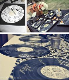 20 Creative Guest Book Ideas For Wedding Reception. this is #10. Vinyl Record Guest Book Alternative    If you are a music junkie, it's more fun to use the vinyl record as a guest book instead. Use it on a table at the wedding reception with silver or gold marker pens and encourage your guests to have their autographs.