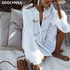 66abfe97728d3 Women Swimsuit Cover Ups Mandarin Sleeve Kaftan Beach Tunic Dress Robe De  Plage Solid White Cotton Pareo Beach Cover Up  Q429