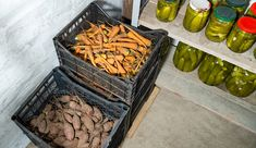 No place for a traditional root cellar? Build a cold-storage area in your basement to enjoy fresh root vegetables all winter long. Vegetable Storage Bin, Potato Storage, Winter Vegetables, Fresh Fruits And Vegetables, Root Vegetables, Veggies, Food Storage, Storage Area, Storage Room