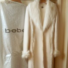 Bebe full length, faux shearling coat Fully lined, never worn, stored covered, nwot bebe Jackets & Coats