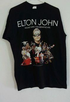 d9e9c769 Elton John Rocket Man Tour 2010 Definitive Hits Ss Blk T Shirt sz Lg Rock  Blues