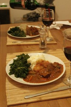 Venison stew with red wine, juniper, bay leaves and rosemary - perfect comfort food!