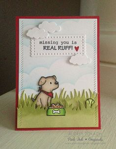 Stamps: Mama Elephant Playful Pups  Dies: Mama Elephant Sew Fancy Frames, Mama Elephant Landscape Trio, Paper Smooches Cute Clouds, Lawn Fawn Grassy Border Ink: Memento Tuxedo Black, Ranger Distress Inks Tumbled Glass, Peeled Paint, Shabby Shutters  Other: Copic Markers, Foam Tape (6.22.15)