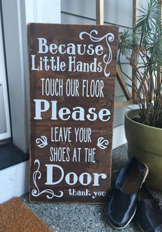 Please Remove Shoes, Wood Sign