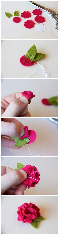 Pins con felpa para Sant Jordi, un bonito regalo hecho a mano. #DIY #SantJordi #HomeMade #Rosa