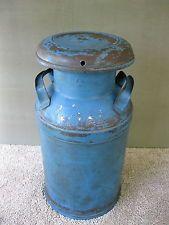 Antique Milk Can Vintage Primitive Worn, Faded Old Blue Paint, BUHL, Detroit MI Antique Milk Can, Milk Cans, Detroit, Primitive, Vase, Crafty, Canning, Country Roads, Vintage