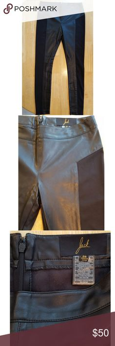 """Jack BB Dakota FAUX LEATHER LEGGINGS PANTS 26 Faux leather pants/ leggings by Jack BB Dakota. I believe the style is either Del Mar or Martini. Size 26 which is equivalent to a size 2, but they do stretch. Full-length pants, mostly faux leather (polyurethane) with knit panels on the sides (polyester & viscose). They zip in the center of the back and also have a hook closure. Good pre-owned condition with no flaws except some slight marks from a hanger, not noticeable. Waist: approx 14.5""""…"""